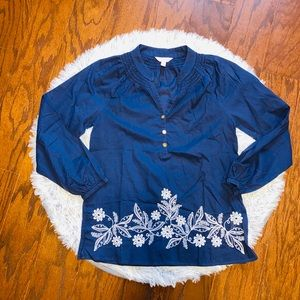 Lilly Pulitzer Navy flower embroidered tunic